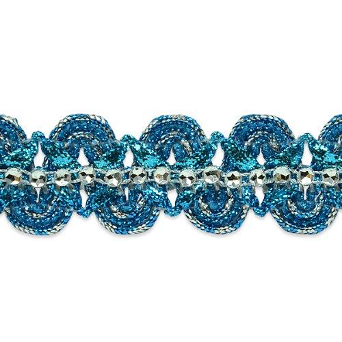 E6964 Turquoise Silver Eva Faux Rhinestone Metallic Braid Trim 1 1/8\