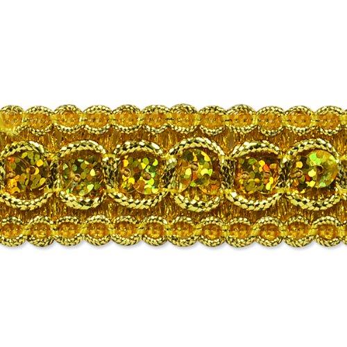 E6973  Gold Trish Sequin Metallic Braid Trim 7/8