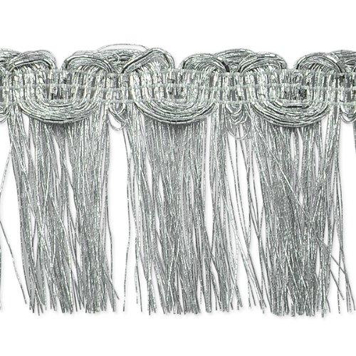 E6975 Silver Metallic Braid Fringe Trim 1.5