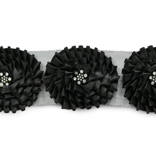E6979 Black Daleah Flower Trim with Rhinestones 3\