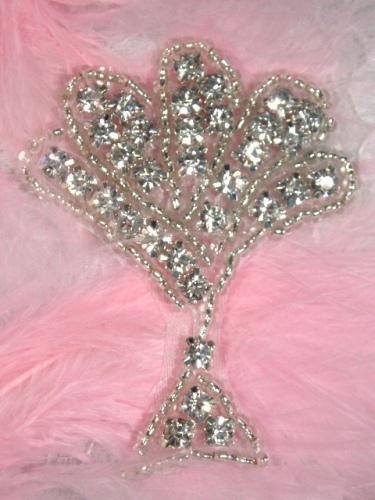 ACT/XR38/B Fan Stand Crystal Glass Silver Beaded Rhinestone Applique 2.25\