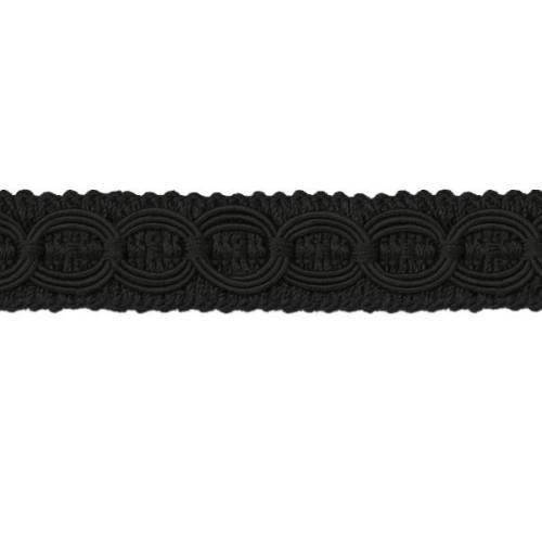 E4437 Woven Braid Circle Black Gimp Sewing Upholstery Trim 3/4\