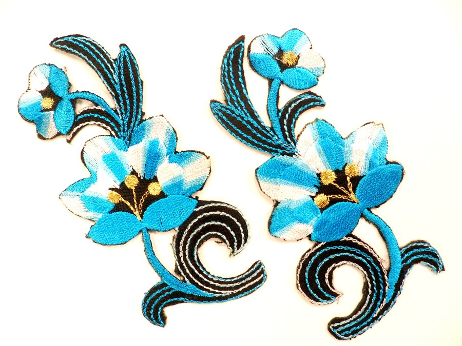 Turquoise Embroidered Appliques Floral Mirror Pairs 3.75 GB696X