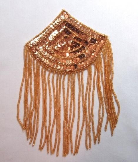 K8104  Gold Epaulet Dangle Sequin Beaded Applique 7