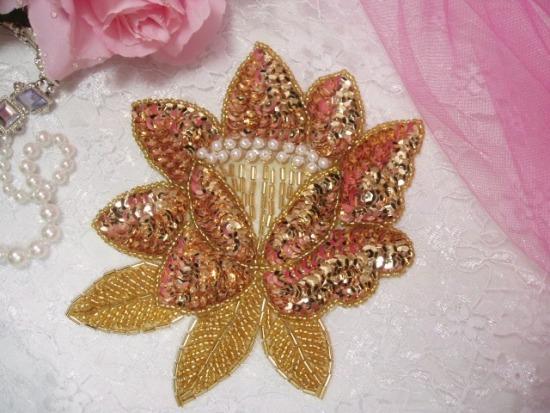 K8108  Gold Rose Sequin Beaded Applique 5.25\