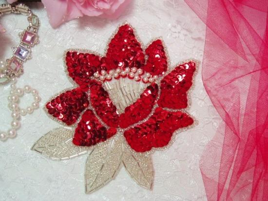 K8108  Red Rose Sequin Beaded Applique 5.25