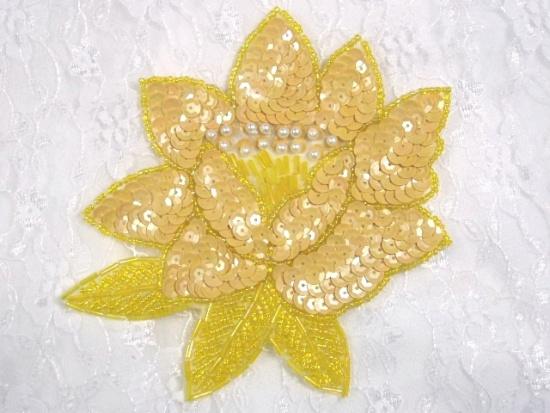 K8108  Yellow Opaque Sequin Beaded Applique 5.25