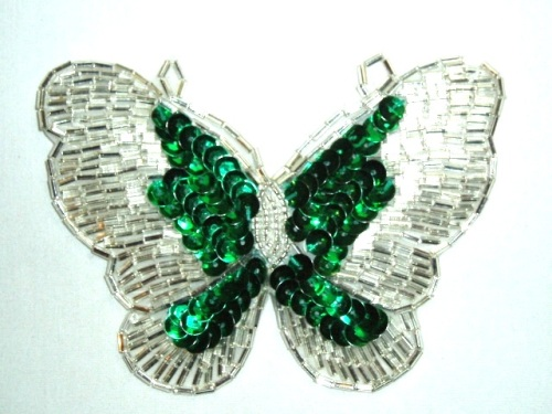 K8110  Kelly Green Butterfly Sequin Beaded Applique 4