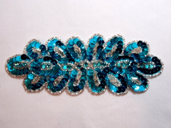 K8122 Turquoise Rhinestone  6.25 Sequin Beaded Applique
