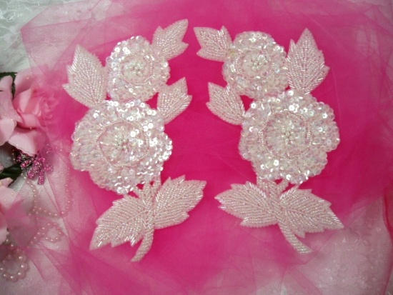 K8127  Crystal AB Rose Mirror Pair Sequin Beaded Appliques 8.25