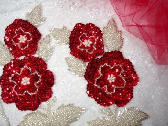 K8127  Red Rose Mirror Pair Sequin Beaded Appliques 8.25