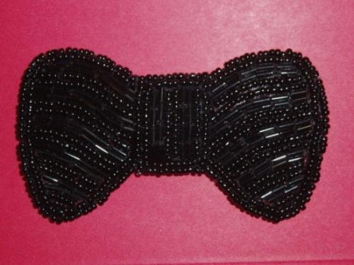 K8137  Black Bow Beaded Applique 3.75