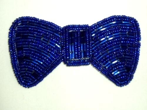 K8137  Blue Bow Beaded Applique 3.75