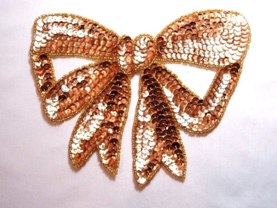 K8140  Gold Large Bow Sequin Beaded Applique 6.75