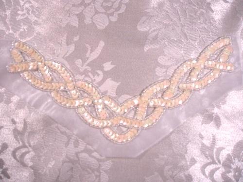 K8248  Ivory Cream Braided Collar Sequin Beaded Applique 8.75
