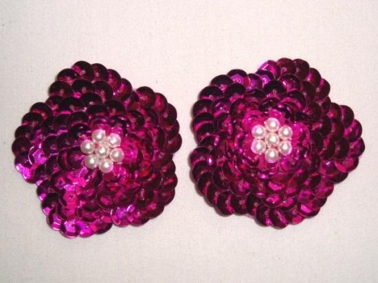 K8261 Set of  (2)  Fuchsia Flower Pair Sequin Beaded Appliques 1.75