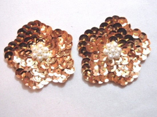K8261  Set of (2) Gold Flower Pair Sequin Beaded Appliques 1.75