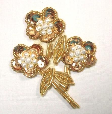 K8262  Gold Flower Pearl Cluster Sequin Beaded Applique 3.5