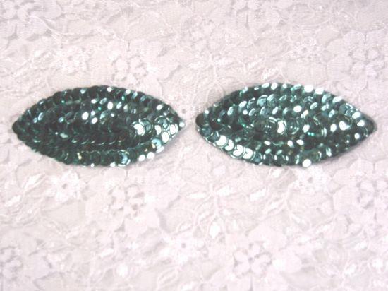 K8263  Set of ( 2 )  Teal Eye Pair Sequin  Appliques  2.5\