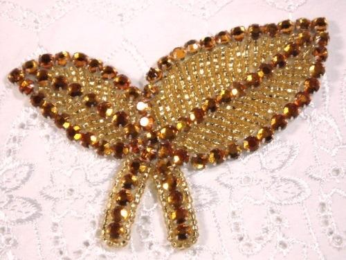 K8264 Gold Leaf Rhinestone Beaded Applique 3.5