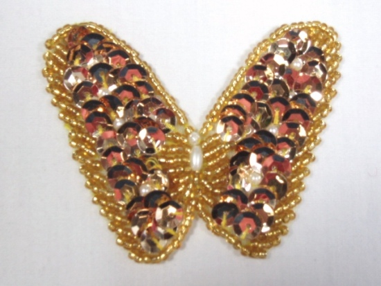 K8268 Gold Butterfly Beaded Sequin Applique 2.25\