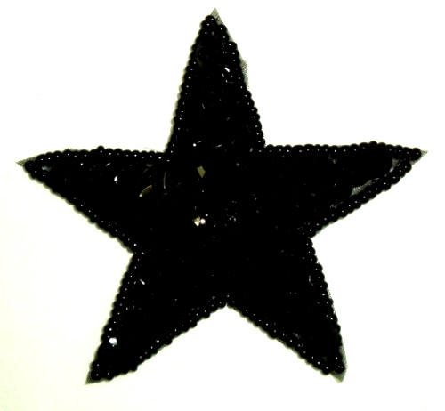 JB73 Black Star Applique 2.5 inch Iron on Patch