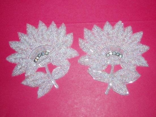 K8273  Crystal AB Floral Mirror Pair Beaded Appliques 3.5\