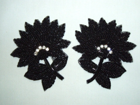 OSK8273 (RIGHT SIDE ONLY) Black Floral Beaded Crystal Rhinestone Applique 3.5\