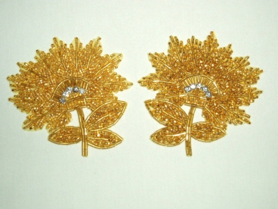 K8273  Gold Floral Mirror Pair Beaded Appliques 3.5\