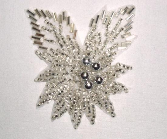 K8281 Silver Beaded Floral Leaf Applique 2.25