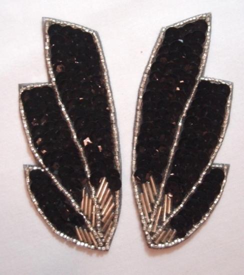 K8403  Black Wing Mirror Pair Sequin Beaded Appliques 4