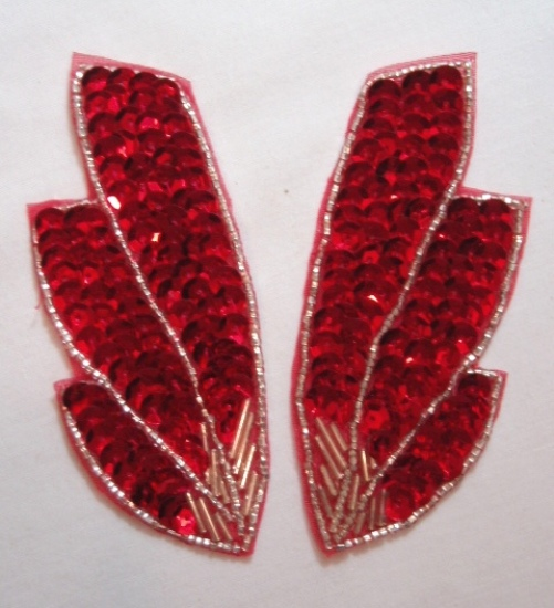 K8403  Red Wing Mirror Pair Sequin Beaded Appliques 4