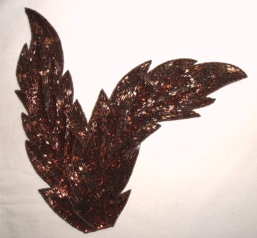 K8408  Bronze Leaf Designer Sequin Beaded Applique 11