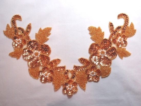 K8616  Gold Floral Pearl Collar  Sequin Beaded Applique 10.5
