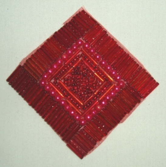 Reduced RMK8629  Red Diamond Square 3.25 Beaded Applique