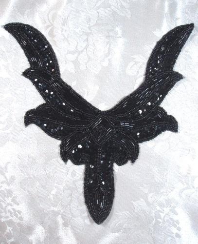 K8635  Black Collar Sequin Beaded Applique 9.5