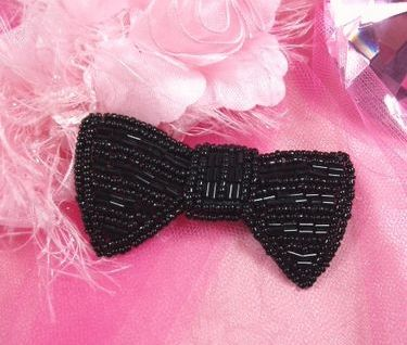 K8737 Black Bow Tie Beaded Applique 3