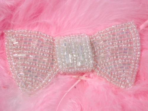 K8737  Crystal AB Bow Tie Beaded Applique 3