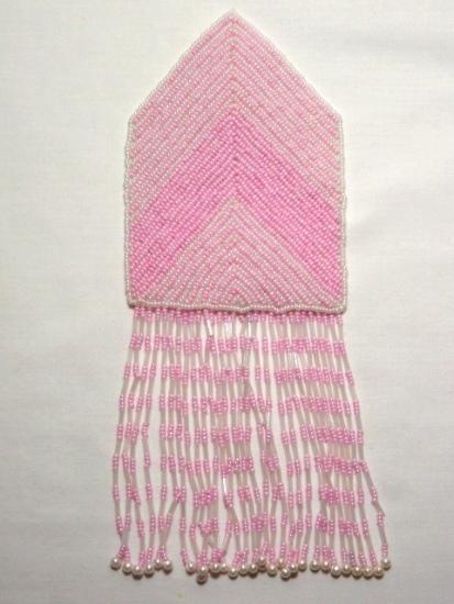 k8738 Pink Crystal Epaulet Sequin Beaded Applique 8.5