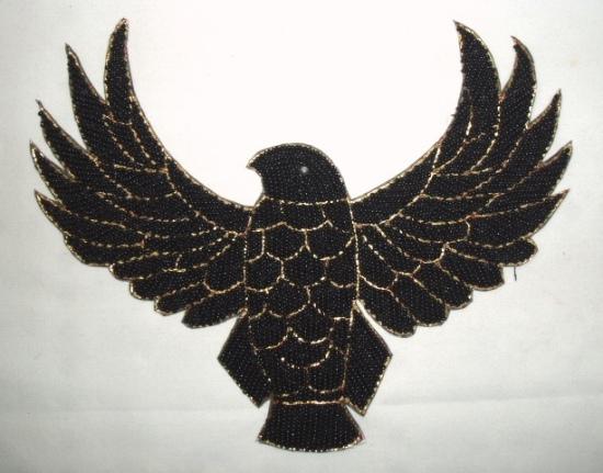 K8754  Black Thunderbird Eagle Beaded Applique 8.5\