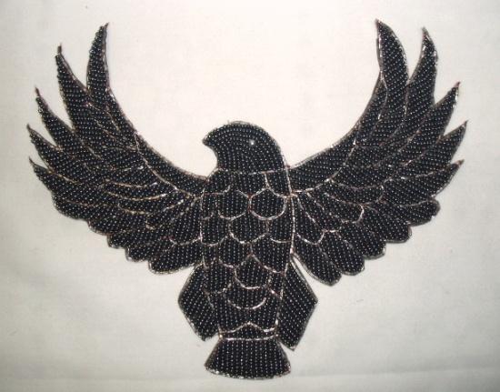 K8754  Gunmetal Thunderbird Eagle Beaded Applique 8.5
