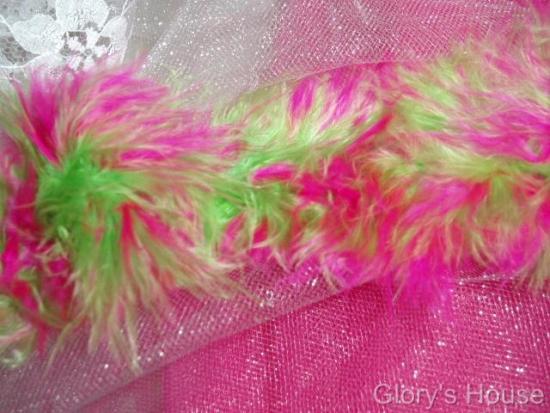 E3760  Fuchsia Lime Marabou Feather Fur Sewing Trim 2\