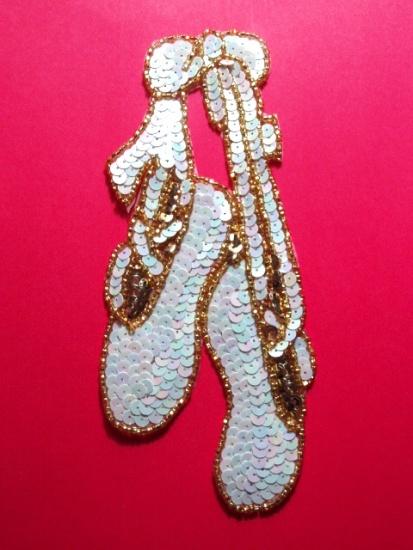 K8890  White Gold Ballerina Slippers Sequin Beaded Applique 9.5