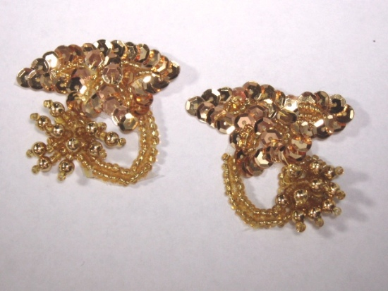 T8903  Gold Mirror Pair Sequin Beaded Appliques