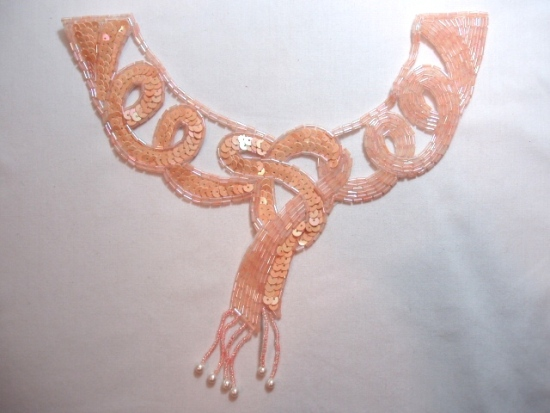 K8914  Peach AB Dangle Collar Sequin Beaded Applique 9