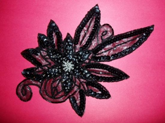 K8915  Black Floral  Sequin Beaded Applique 8.5