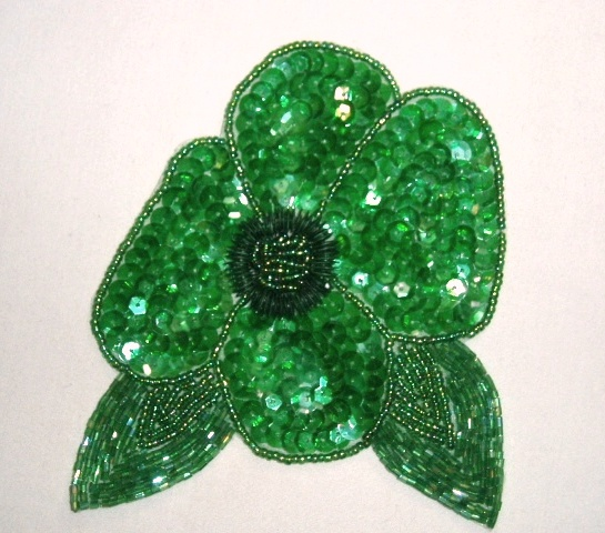 K8916  Green Crystal AB Floral  Sequin Beaded Applique 4.5