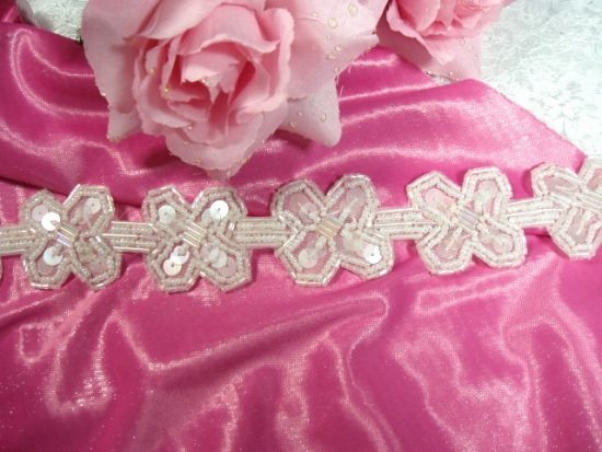 T8918 Crystal X Sequin Beaded Applique or Trim 1.5