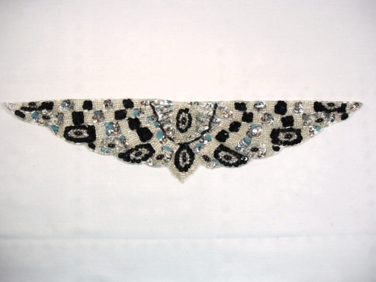K8920   Silver Sequin Beaded Appliques 13.75