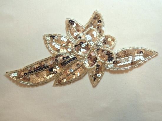 K8924  Silver Pearl Floral Sequin Beaded Applique 8.25